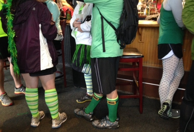 The common garb of the beer runner.