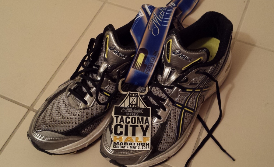 This is what it's all about... sweat-soaked sneakers and a finisher's medal.