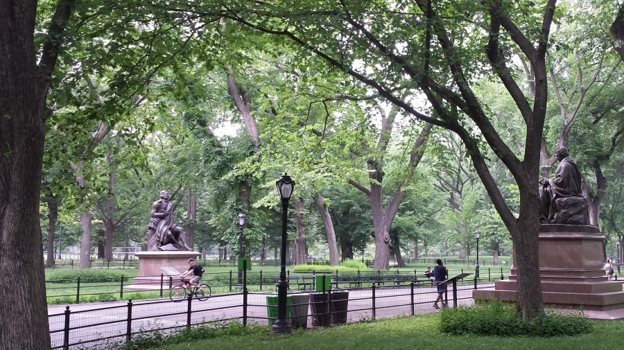 Literary Walk -- Come for the American Elms, stay for the statues of dead writers.