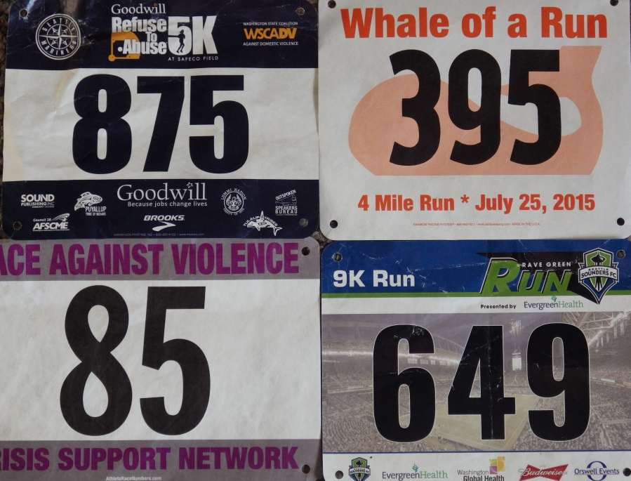 Four races, four bibs.